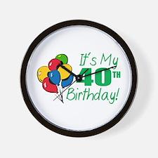 It's My 40th Birthday (Balloons) Wall Clock