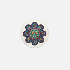 Hippie Peace Flower Mini Button