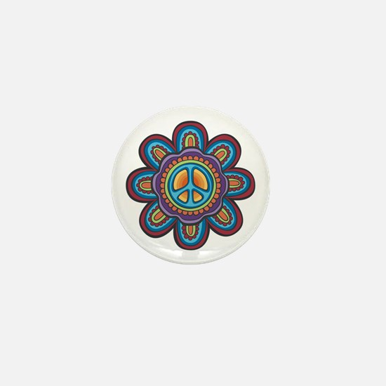 Hippie Peace Flower Mini Button