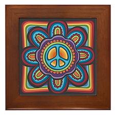 Hippie Peace Flower Framed Tile