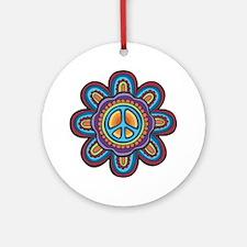 Hippie Peace Flower Ornament (Round)