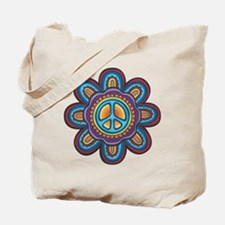 Hippie Peace Flower Tote Bag