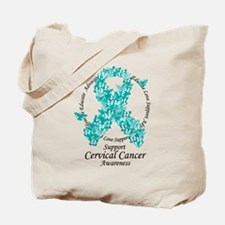 Cervical Cancer Butterfly Ribbon Tote Bag