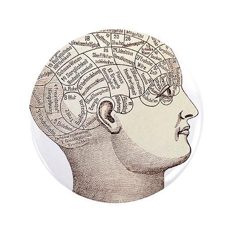 "Phrenology Head 3.5"" Button (100 pack)"