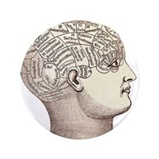 "Phrenology Head 3.5"" Button"