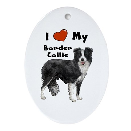 I Love My Border Collie Oval Ornament