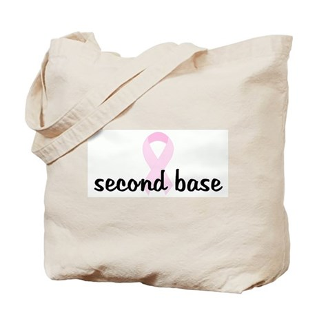 second base pink ribbon Tote Bag