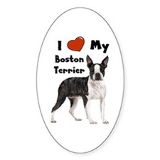 I Love My Boston Terrier Oval Decal