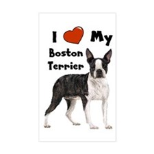 I Love My Boston Terrier Rectangle Decal