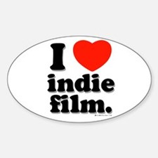 I Love Indie Film Oval Decal
