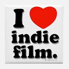 I Love Indie Film Tile Coaster