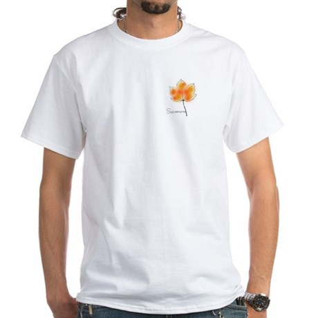 Sycamore Leaf design White T-Shirt - quote on back