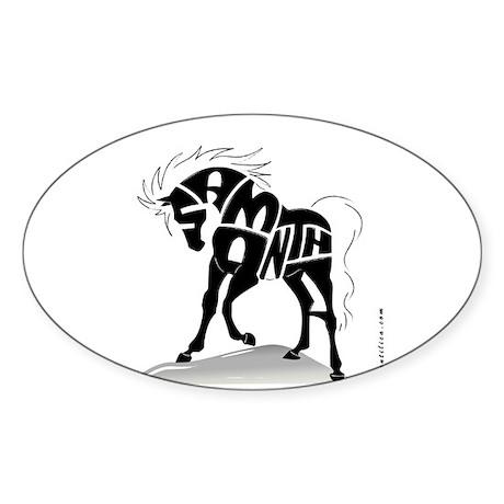 Samantha (Black Horse) Oval Sticker