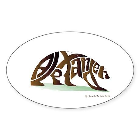 Alexander (Brown Bear) Oval Sticker