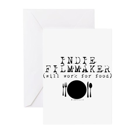 Filmmaker - will work for food! Greeting Cards (Pk