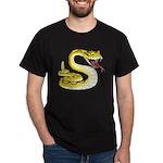 Rattlesnake Snake Tattoo Art (Front) Dark T-Shirt