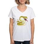 Rattlesnake Snake Tattoo Art (Front) Women's V-Nec