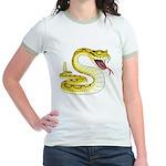 Rattlesnake Snake Tattoo Art (Front) Jr. Ringer T-