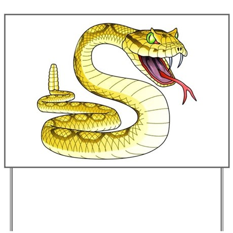 Rattlesnake Snake Tattoo Art Yard Sign