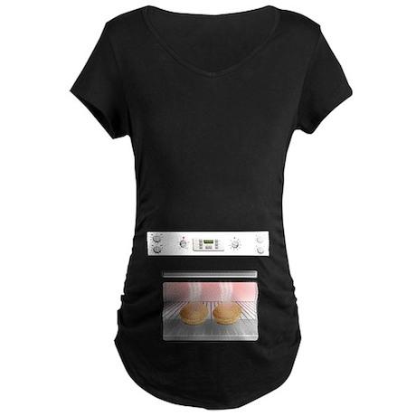 Twin Bun In The Oven Maternity Dark T-Shirt