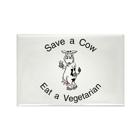 Save A Cow, Eat A Vegetarian Rectangle Magnet (100
