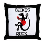 Geckos Rock Throw Pillow