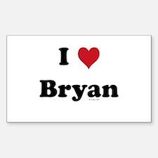 I love Bryan Rectangle Decal