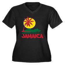 Jamaica Sunset Women's Plus Size V-Neck Dark T-Shi