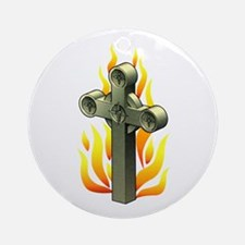 Fiery Cross Tattoo Art Ornament (Round)