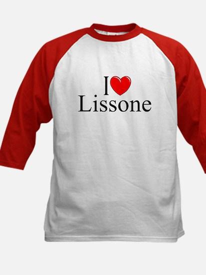 """I Love (Heart) Lissone"" Kids Baseball Jersey"
