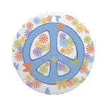 Peace & Butterflies Ornament (Round)