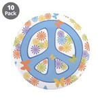 """Peace & Butterflies 3.5"""" Button (10 pack)"""