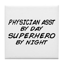 Physician Assistant Superhero by Night Tile Coaste