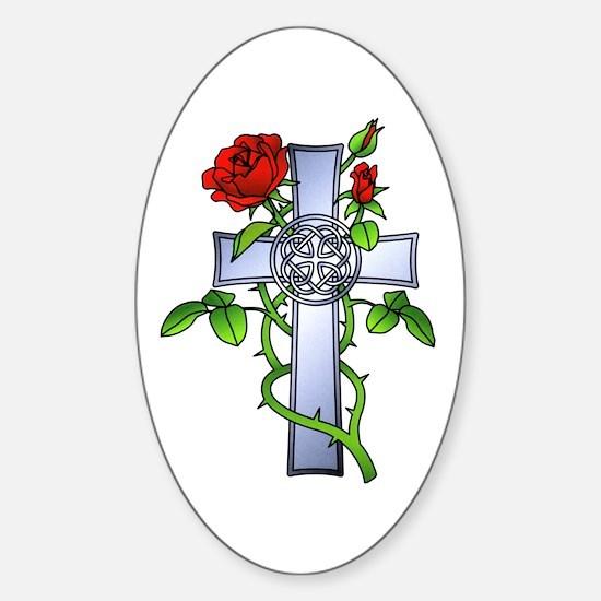 Celtic Rose Cross Tattoo Oval Decal