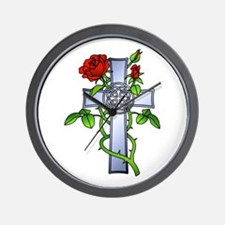 Celtic Rose Cross Tattoo Wall Clock