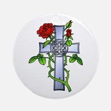 Celtic Rose Cross Tattoo Ornament (Round)