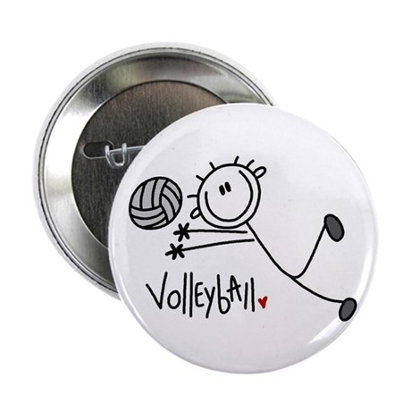 "Stick Figure Volleyball 2.25"" Button (100 pack)"
