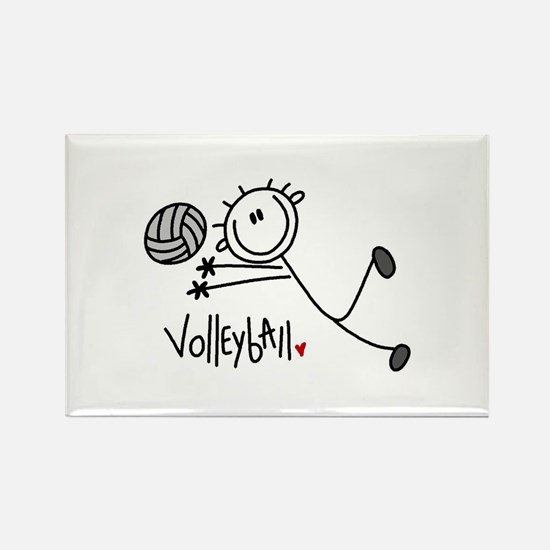 Stick Figure Volleyball Rectangle Magnet (10 pack)