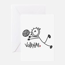 Stick Figure Volleyball Greeting Card