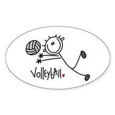 Stick Figure Volleyball Oval Decal