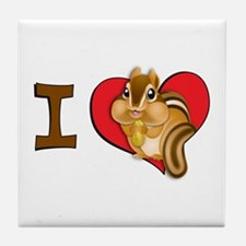 I heart chipmunks Tile Coaster