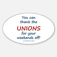 Thank Unions Oval Decal