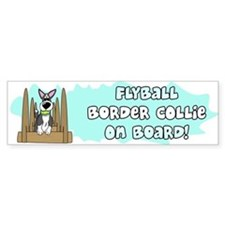 Cartoon Border Collie Flyball Bumper Car Sticker