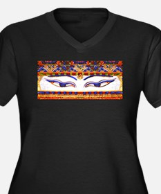 Unique Buddha eyes Women's Plus Size V-Neck Dark T-Shirt