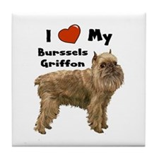 I Love My Brussels Griffon Tile Coaster