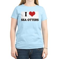 I Love Sea Otters Women's Pink T-Shirt