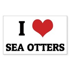 I Love Sea Otters Rectangle Decal
