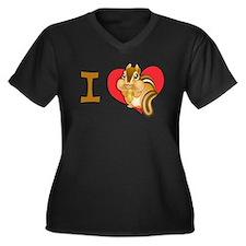 I heart chipmunks Women's Plus Size V-Neck Dark T-