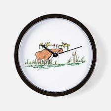moose in a swamp Wall Clock