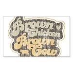 Brown Chicken Brown Cow Rectangle Sticker